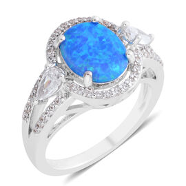 New Concept - Simulated Ocean Blue Opal (Oval), Simulated Diamond Ring in Silver Plated