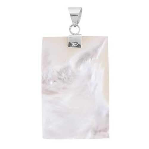 Royal Bali Collection - Mother of Pearl Rectangle Pendant in Sterling Silver