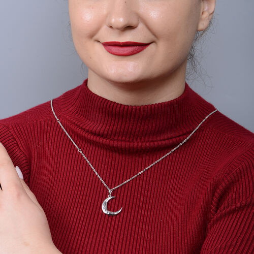 LucyQ Crescent Collection - Rhodium Overlay Sterling Silver Crescent Moon Pendant with Chain (Size 16-18-24 )