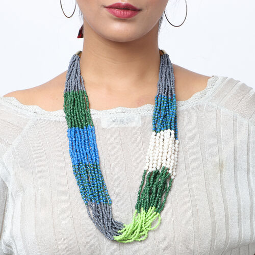 Designer Inspired- Green and Multi Colour Long Beaded Necklace (Size 30 with Extender)