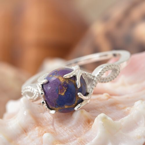 Mojave Purple Turquoise (Rnd) Solitaire Ring in Sterling Silver 2.750 Ct.