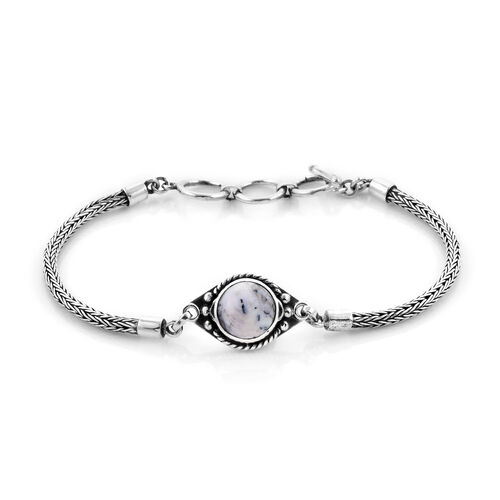 Royal Bali Collection - Dendritic Agate Tulang Naga Bracelet (Size 8 with Extender) in Sterling Silv