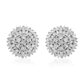 0.68 Ct White Diamond Cluster Stud Earrings in Rhodium Plated Sterling Silver 6.5 Grams