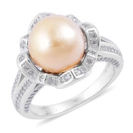 Very Rare South Sea Golden Pearl (Rnd 11-11.5mm), Natural White Cambodian Zircon Ring in Platinum Overlay Sterling Silver