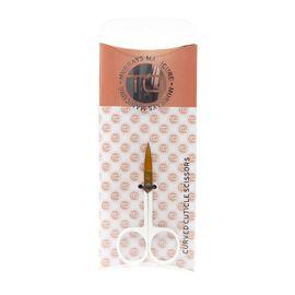 TQ Curved Cuticie  Scissors- White & Gold