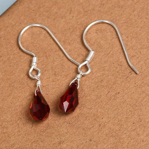 J Francis Crystal From Swarovski Siam Colour Crystal Hook Earrings in Sterling Silver