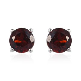 Mozambique Garnet (Rnd) Stud Earrings (with Push Back) in Platinum Overlay Sterling Silver 2.00 Ct.