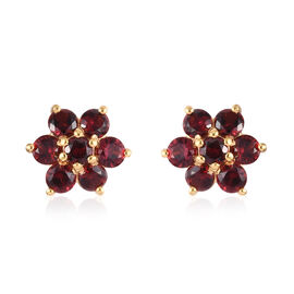 AA Red Spinel Floral Stud Earrings (with Push Back) in 14K Gold Overlay Sterling Silver 2.00 Ct.