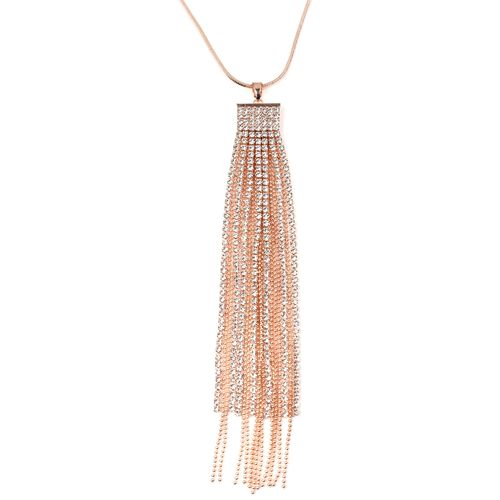 White Austrian Crystal (Rnd) Waterfall Pendant With Chain (Size 30 with 2 inch Extender) in Rose Gold Plated