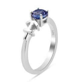 AA Tanzanite Zodiac-Sagittarius Ring in Platinum Overlay Sterling Silver 0.50 Ct.