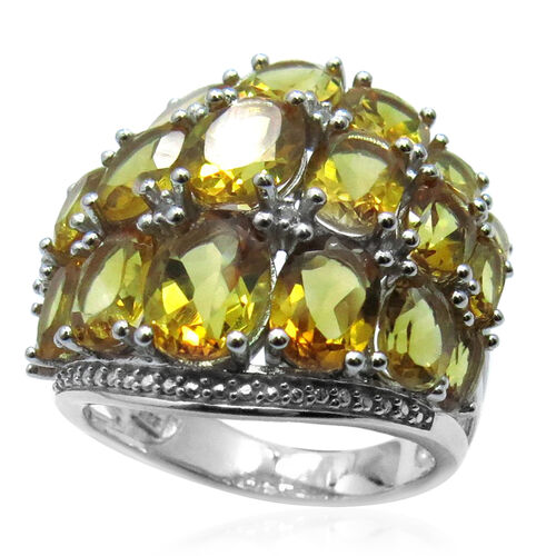 AA Citrine (Ovl), White Topaz Ring in Rhodium Plated Sterling Silver 12.002 Ct.