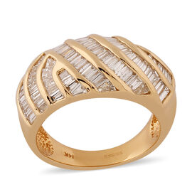 14K Yellow Gold Natural White Diamond Ring 0.99 ct,  Gold Wt. 7.10 Gms