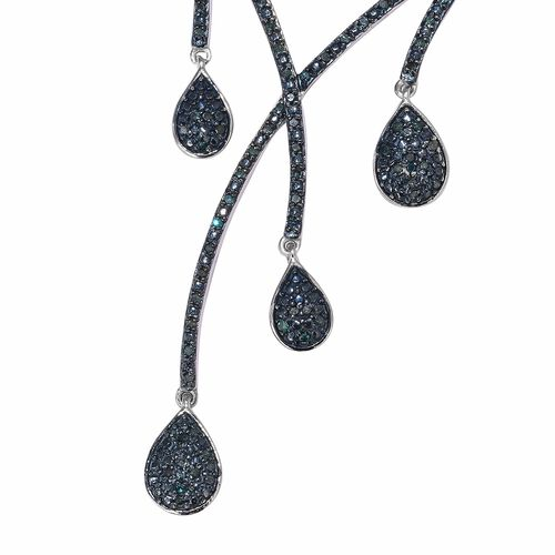 Blue Diamond (Rnd) Platinum Overlay Sterling Silver Multi Drop Necklace (Size 20 Adjustable) 1.00 Ct, Silver wt 21.00 Gms, Number of Diamond 201