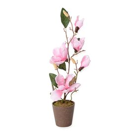 Home Decor Artificial Magnolia Denudata Dark Pink Colour Flower with Pot (Size 53x11.5x10.5 Cm)