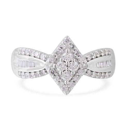 New York Close Out Deal- Diamond (Rnd and Bgt) (I2-I3) Ring in Rhodium Plated Sterling Silver 0.500 Ct.