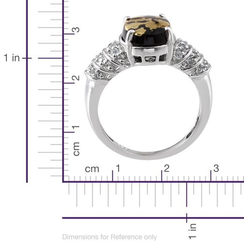 Goldenite (Ovl 3.15 Ct), White Topaz Ring in Platinum Overlay Sterling Silver 3.500 Ct.