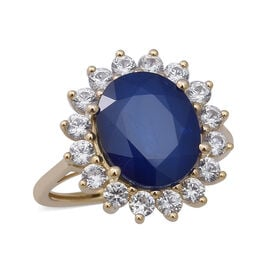 Collectors Edition- 9K Yellow Gold AAA Tanzanian Blue Spinel and Natural Cambodian Zircon Ring 6.97