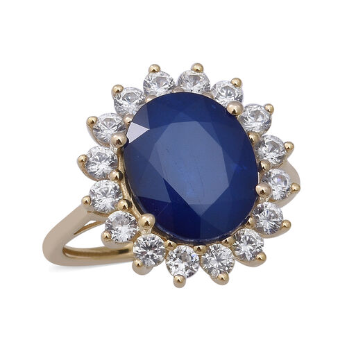 AAA Tanzanian Blue Spinel and Cambodian Zircon Ring in 9K Yellow Gold,6.97 Ct.