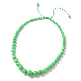 Hong Kong Collection Green Howlite Graduated Adjustable Necklace (Size 18 - 24) 277.000 Ct.