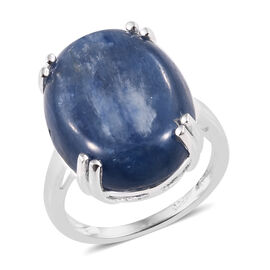 Rare Size High Luster Kyanite (Ovl 20x15 mm) Ring in Sterling Silver 17.00 Ct.