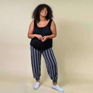 TAMSY One Size Stripe Printed Trousers (Size:M/L,10-16) - Black and White