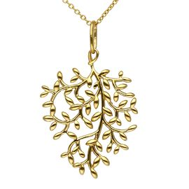 Leaf Design Pendant with Chain in 14K Gold Plated Silver 6.11 Grams 18 Inch