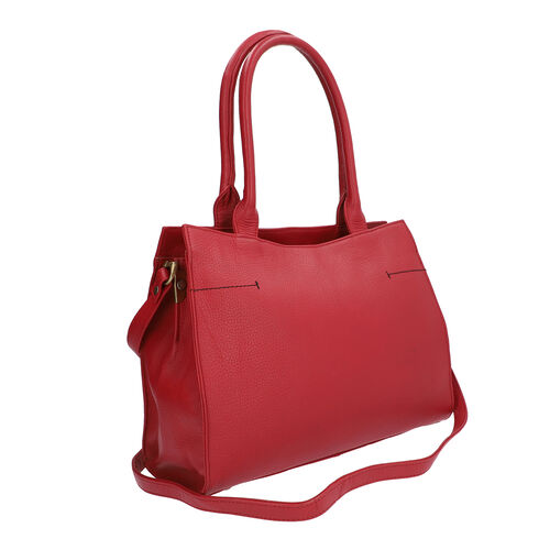 100% Genuine Leather Handbag with Adjustable Shoulder Strap and External Zipper Pocket (Size 31.5x10x25.5 Cm) - Red