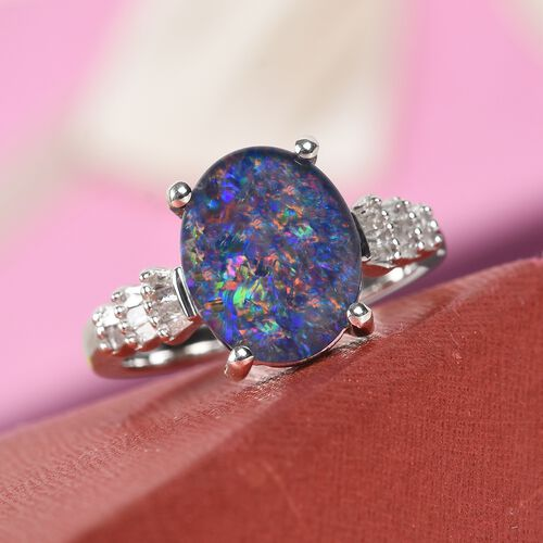 One Time Deal- Boulder Opal (Ovl 11x9mm) and Natural Diamond Ring in Platinum Overlay Sterling Silver 2.25 Ct.