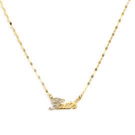 Italian Made 9K Yellow Gold Diamond Dust Faith Necklace (Size 18)