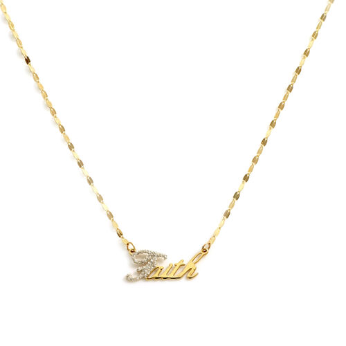 Italian Made 9K Yellow Gold Diamond Dust Faith Necklace (Size 18)