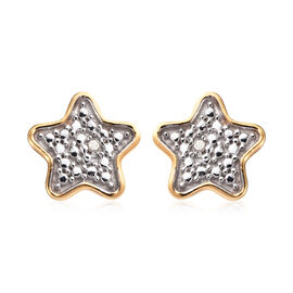 Diamond (Rnd) Star Stud Earrings (with Push Back) in 14K Gold Overlay and Platinum Overlay Sterling