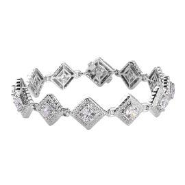J Francis Platinum Overlay Sterling Silver Bracelet (Size 7.5) Made with SWAROVSKI ZIRCONIA 10.22 Ct