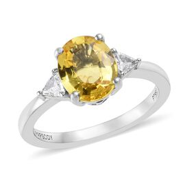 RHAPSODY 950 Platinum AAAA Yellow Sapphire (Ovl 9x7 mm), Diamond (VS/E-F) Ring 2.40 Ct.