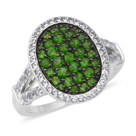 2.33 Ct Russian Diopside and Zircon Cluster Ring in Rhodium Plated Silver 5.21 Grams