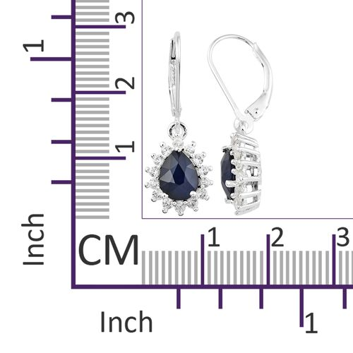 Rare Size Kanchanaburi Blue Sapphire (Pear), Natural Cambodian Zircon Lever Back Earrings in Sterling Silver 3.250 Ct.