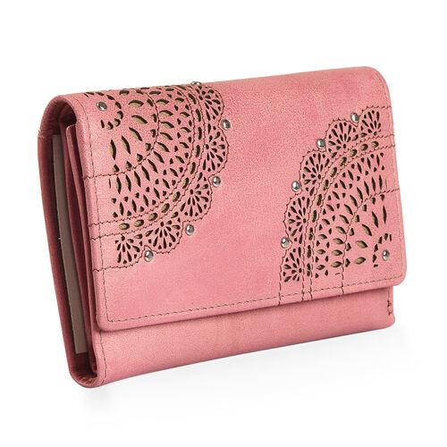 Cecilla Laser Cut Design100% Genuine Leather Mauve Colour RFID Blocker Wallet (Size 15x10 Cm)