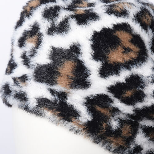 Super Soft Chic Leopard Beret - White and Brown