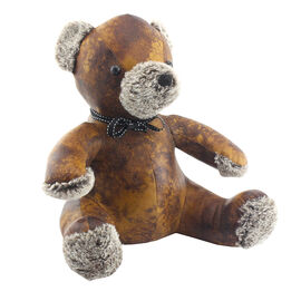 Lesser & Pavey Faux Leather Teddy Doorstop in Brown (30X23 CM)