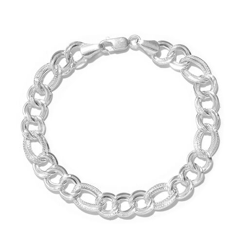 One Time Close Out Deal- Sterling Silver Double Curb Bracelet (Size 7.5), Silver wt 12.90 Gms.