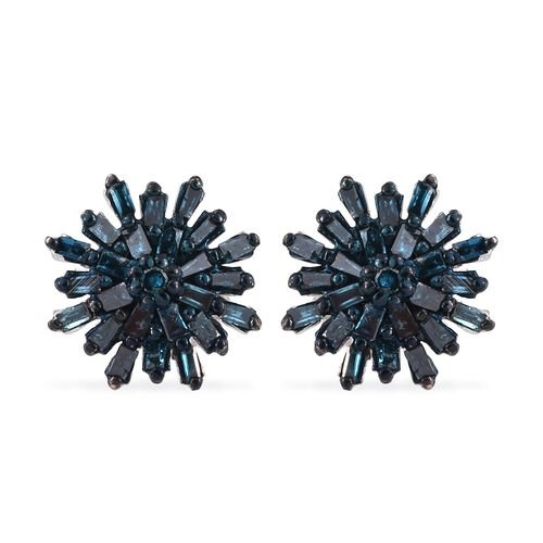 Blue Diamond (Bgt) Snow Flake Earrings (with Push Back) in Platinum Overlay Sterling Silver 0.331 Ct