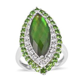 6.6 Ct Canadian Ammolite and Multi Gemstones Halo Ring in Sterling Silver 7.3 Grams