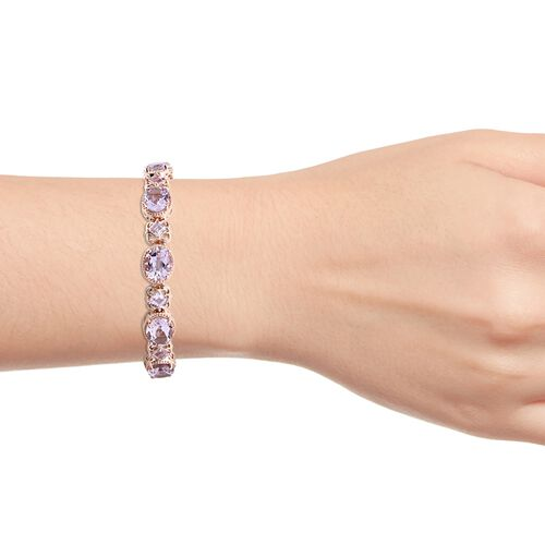 Rose De France Amethyst (Ovl and Sqr) Bracelet (Size 7.5) in Rose Gold Overlay Sterling Silver 26.250 Ct. Silver wt 17.35 Gms.