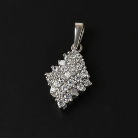 J Francis Platinum Overlay Sterling Silver Cluster Pendant Made with SWAROVSKI ZIRCONIA 1.25 Ct.