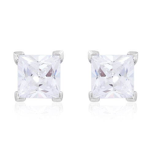 Set of 2- ELANZA AAA Simulated White Diamond (Rnd and Sqr) Stud Earrings (with Push Back) in Rhodium Plated Sterling Silver