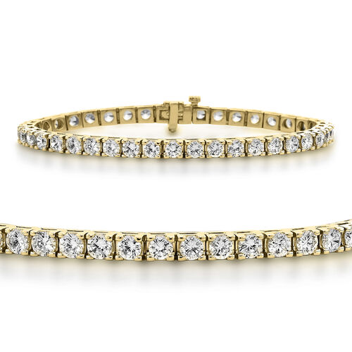 NY Close Out Deal- 14K Yellow Gold EGL Certified Diamond (Rnd) (I1-I2/G-H) Bracelet (Size 8.25) 11.5
