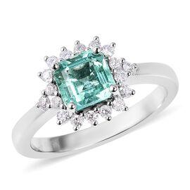9K White Gold AA Boyaca Colombian Emerald (Oct), Diamond (I3/G-H) Ring 1.30 Ct.