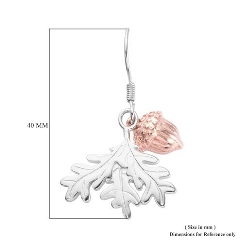 Rose Gold and Platinum Overlay Sterling Silver Acorn and Leaf Hook Earrings, Silver wt 8.00 Gms