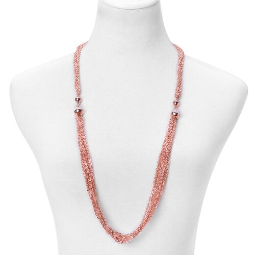 White Austrian Crystal Multi Functional Necklace (Size 18) and Bracelet (Size 8.5) with Magnetic Clasp in ION Plated Rose Gold Stainless Steel