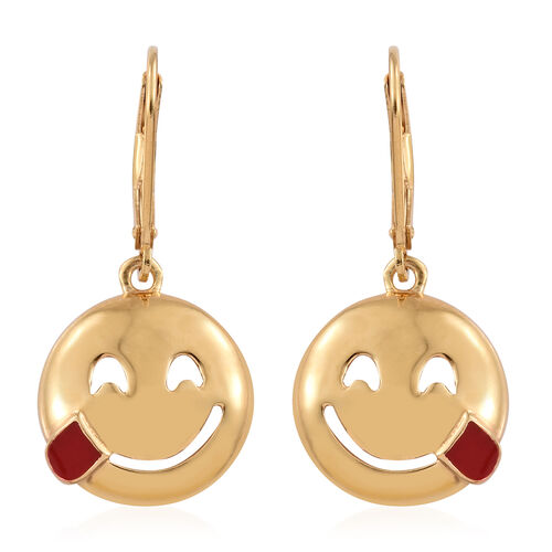 Savoring Food Face Smiley Silver Lever Back Earrings in Gold Overlay