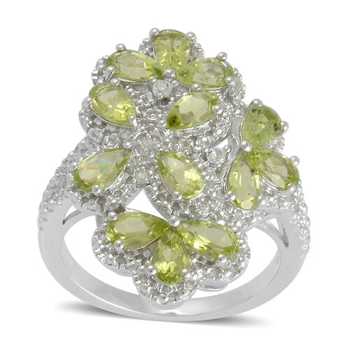 Hebei Peridot (Pear), White Topaz Ring in Platinum Overlay Sterling Silver 2.838 Ct.
